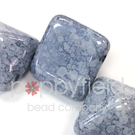 Czech 2-Hole Pyramid Stud Beads, 12mm, White Teracota Blue, 25 Beads/Strand