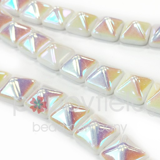 Czech 2-Hole Pyramid Stud Beads, 12mm, White AB, 25 Beads/Strand