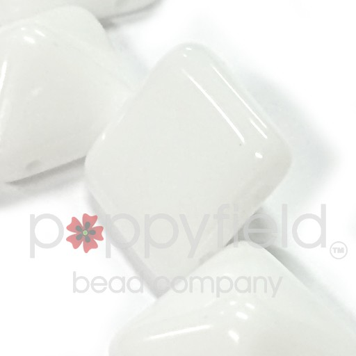 Czech 2-Hole Pyramid Stud Beads, 12mm, White, 25 Beads/Strand