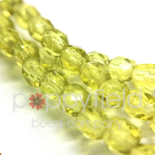 Czech Czech Fire Polish, 4 mm, Jonquil, 50 Pcs