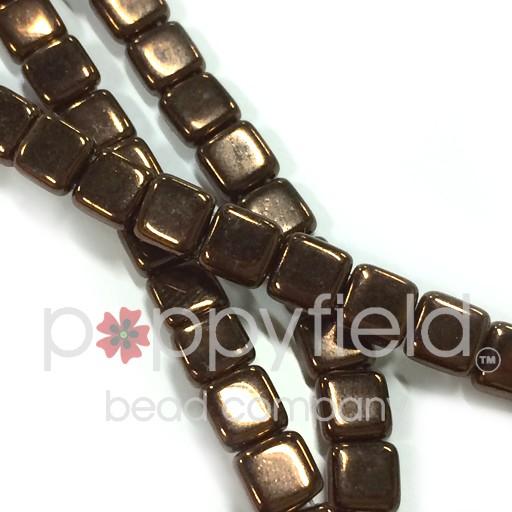 Czech 2 Holed Tile Beads, 6 mm, Dark Bronze, 50 pcs