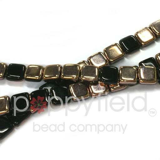 Czech 2 Holed Tile Beads, 6 mm, Jet Apollo, 50 pcs