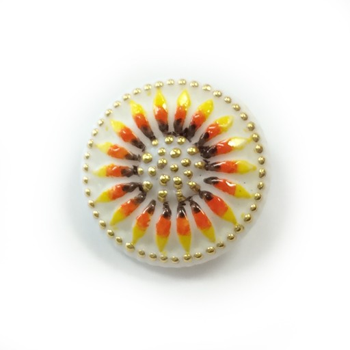 Czech Czech Button, 18 mm, White Daisy