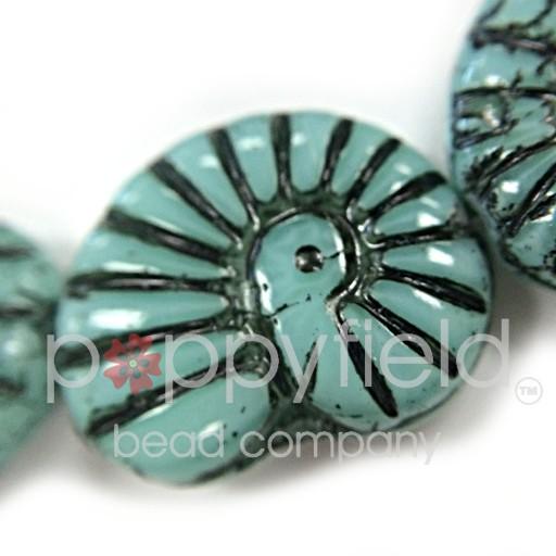 Czech Czech Shell Beads, 16x14 mm, Turquoise, 10 pcs