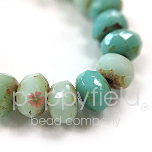 Czech Rondelles, 3x5 mm, Green Turquoise Mix, 30 pcs