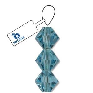 Czech Preciosa Bicone Strand, 6 mm, Aquamarine, 21 pcs