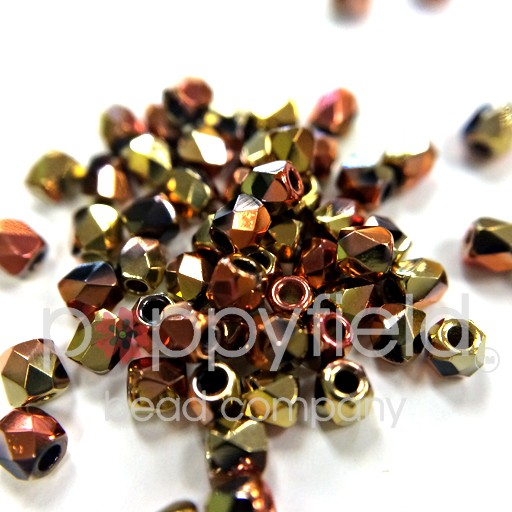 Czech Fire Polish, 2 mm, Jet California Gold Rush, 2 gm, approx. 200 pcs