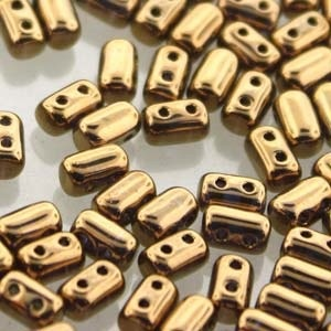 Czech Rulla Beads, Gold Lustre, 25g