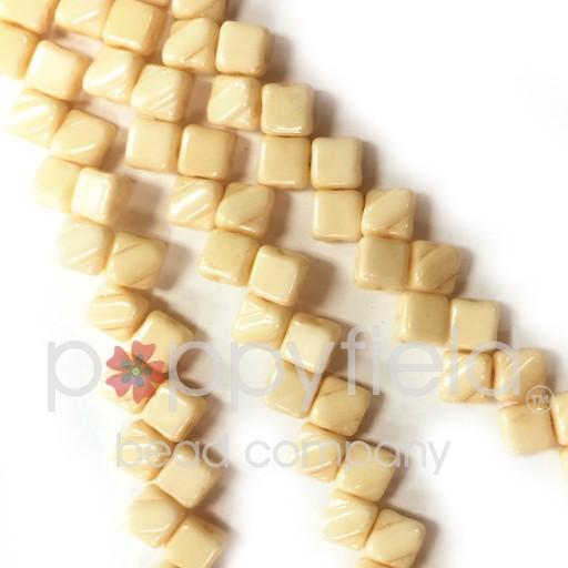 Czech 2 Hole Silky Beads, Opaque Beige, 40 Pcs