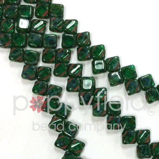 Czech 2 Hole Silky Beads, Teal Picasso, 40 Pcs