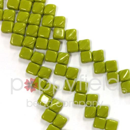 Czech 2 Hole Silky Beads, Opaque Green, 40 Pcs