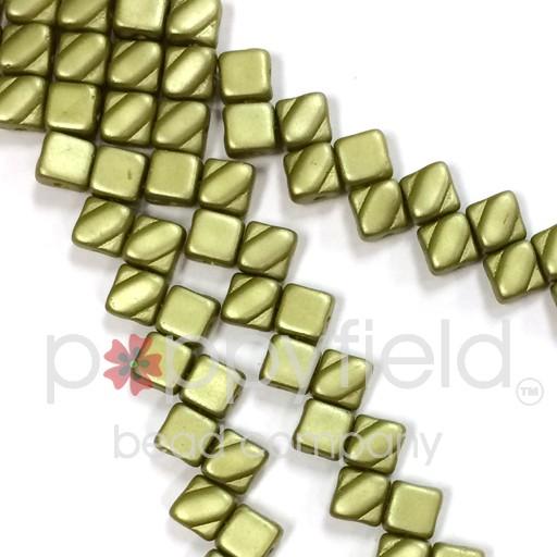 Czech 2 Hole Silky Beads, Pastel Lime, 40 Pcs
