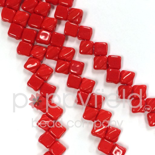 Czech 2 Hole Silky Beads, Opaque Red, 40 PCS