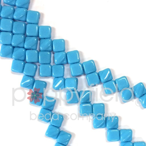 Czech 2 Hole Silky Beads, Opaque Turquoise, 40 Pcs