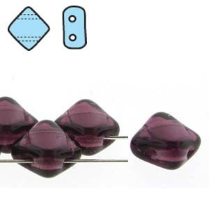 Czech 2 Hole Silky Beads, Dark Amethyst, 40 Pcs