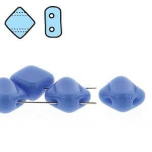 Czech 2 Hole Silky Beads, Opaque Blue, 40 Pcs