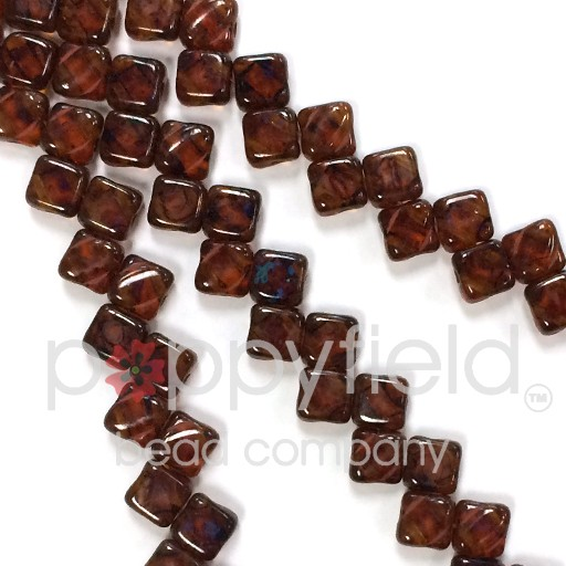 Czech 2 Hole Silky Beads, Topaz Picasso, 40 Pcs