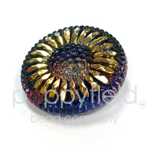 Czech Czech Button, 27 mm, Blue and Gold Daisy