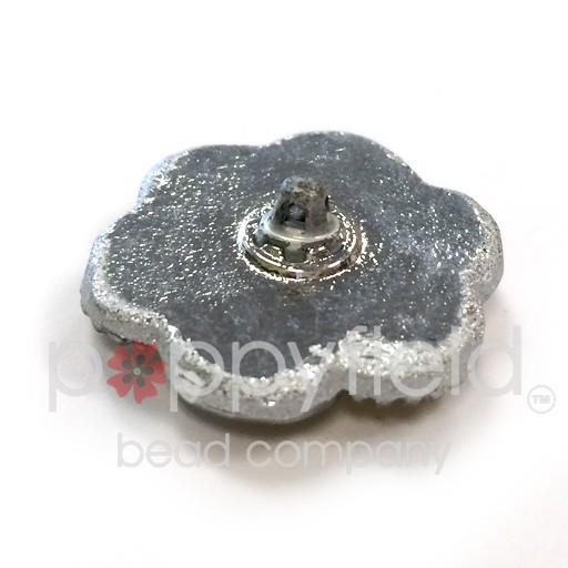 Czech Czech Button, 27 mm, Pink Flower Knot