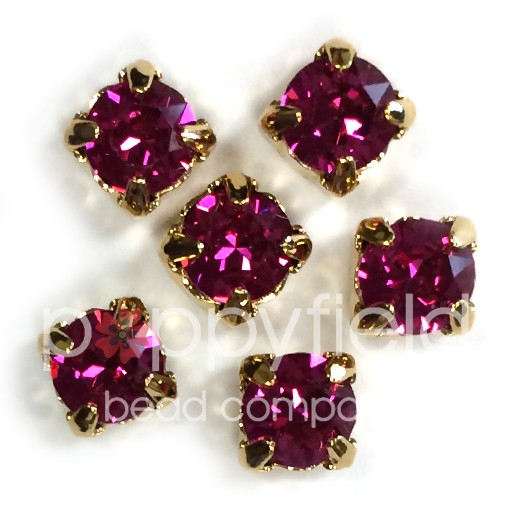 Austrian Swarovski 2-Hole Sliders, 29ss=6.5mm, Fuchsia/Goldtone Plate, 6 pcs