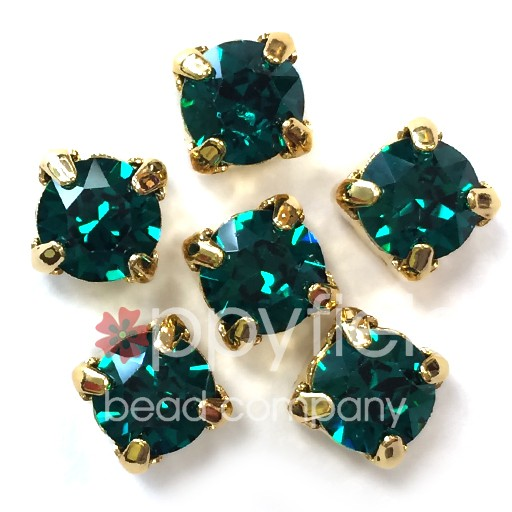 Austrian Swarovski 2-Hole Sliders, 29ss=6.5mm, Emerald/Goldtone Plate, 6 pcs