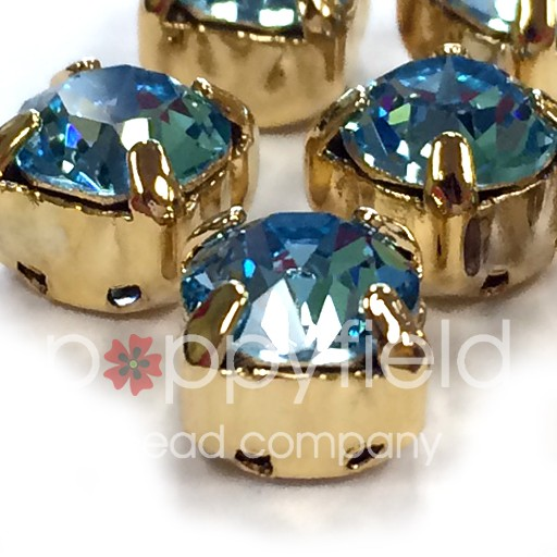 Austrian Swarovski 2-Hole Sliders, 29ss=6.5mm, Aqua/Goldtone Plate, 6 pcs