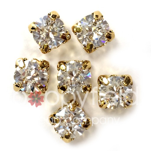Austrian Swarovski 2-Hole Sliders, 29ss=6.5mm, Crystal/Goldtone Plate, 6 pcs