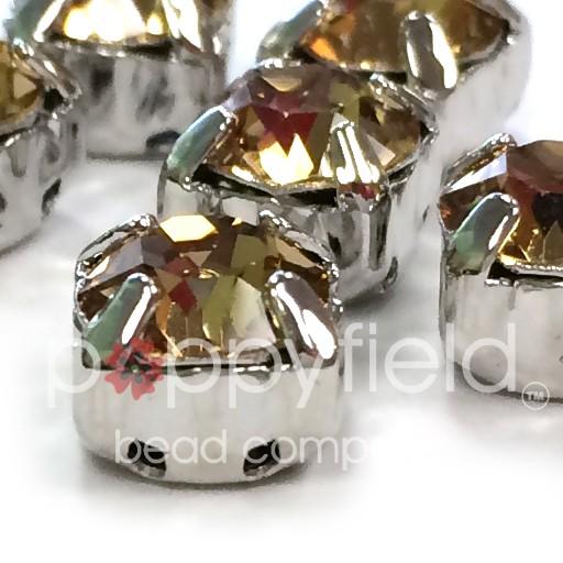 Austrian Swarovski 2-Hole Sliders, 29ss=6.5mm, Light Colorado Topaz/Silvertone Plate, 6 pcs