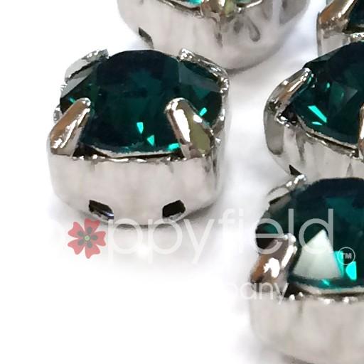Austrian Swarovski 2-Hole Sliders, 29ss=6.5mm, Emerald/Silvertone Plate, 6 pcs