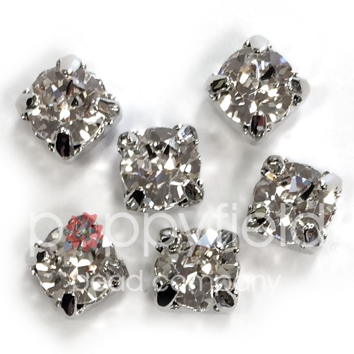 Austrian Swarovski 2-Hole Sliders, 29ss=6.5mm, Crystal/Silvertone Plate, 6 pcs