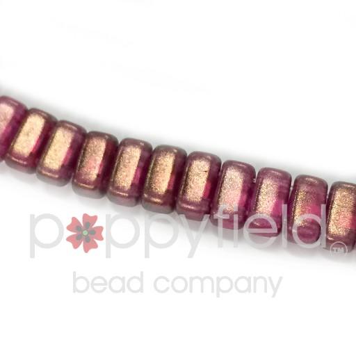 Czech 2-Hole Bricks, Halo Madder Rose, 50 pcs