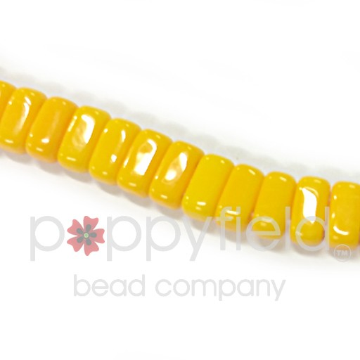 Czech 2-Hole Bricks, Opaque Sunflower Yellow, 50 pcs