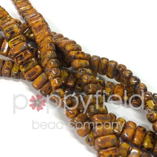 Czech 2-Hole Bricks, Sunflower Yellow Picaso, 50 pcs