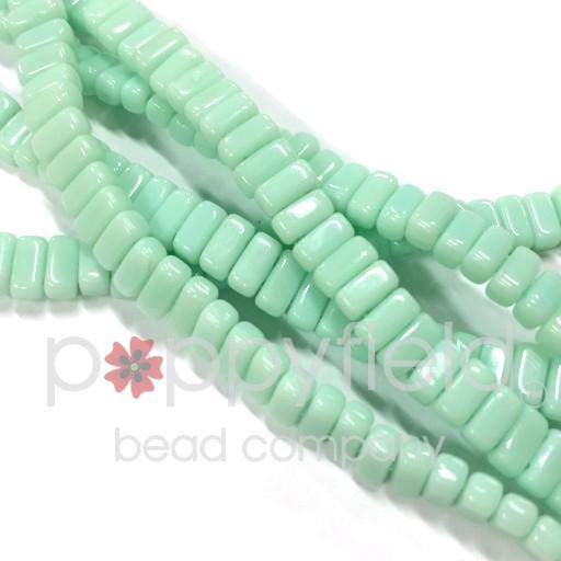 Czech 2-Hole Bricks, Opaque Pale Jade, 50 pcs