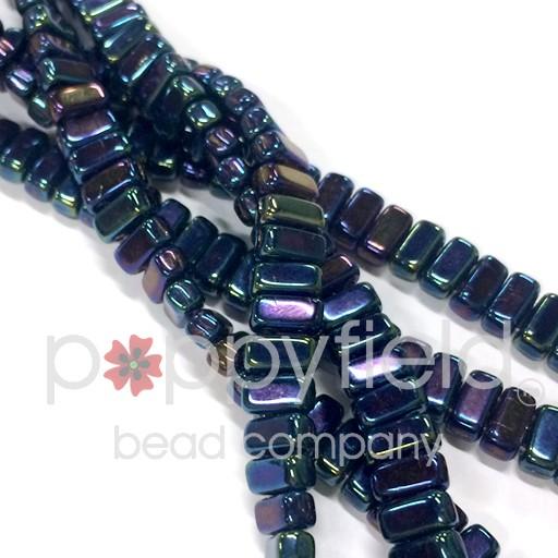 Czech Bricks, Iris Blue, 50 pcs