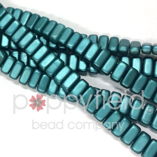 Czech 2-Hole Bricks, Pearl Coat Teal, 50 pcs