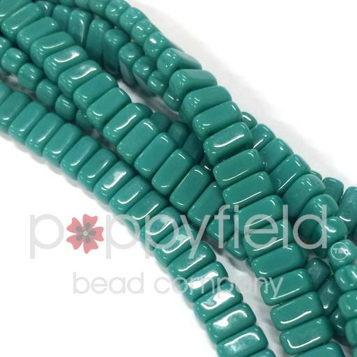 Czech 2-Hole Bricks, Persian Turquoise, 50 pcs