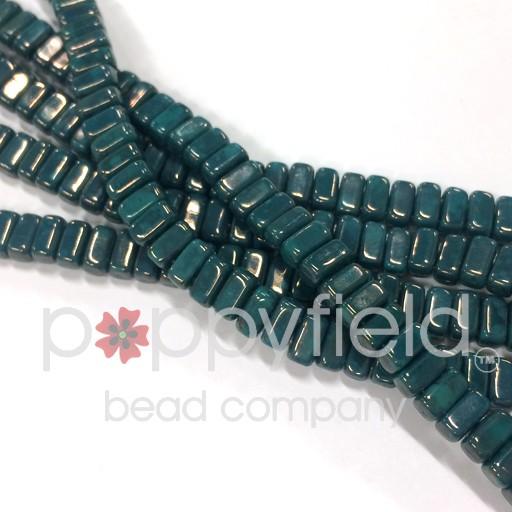 Czech 2-Hole Bricks, Persian Turquoise Moon Dust , 50 pcs