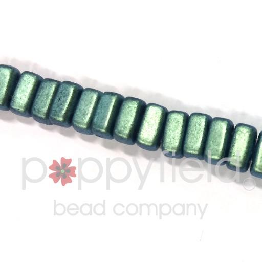 Czech 2-Hole Bricks, Polychrome Aqua <br />Teal, 50 pcs