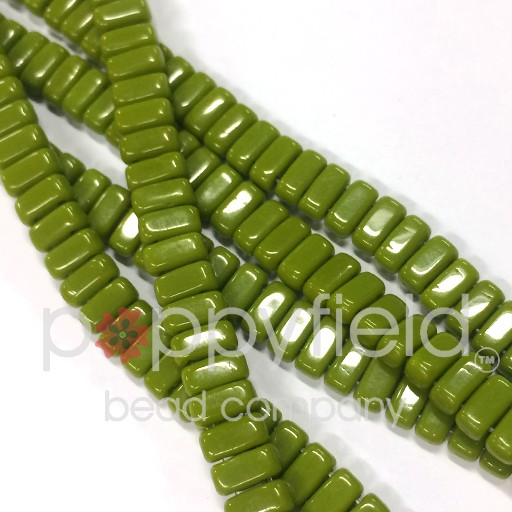 Czech Bricks, Opaque Olive, 50 pcs