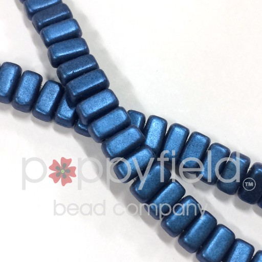 Czech Bricks, Metallic Suede Blue, 50 pcs