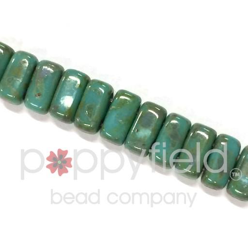 Czech 2-Hole Bricks, Picasso Persian Turquoise, 50 pcs