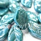Czech Leaves, 12x7 mm, Turquoise Luster, 25 pcs