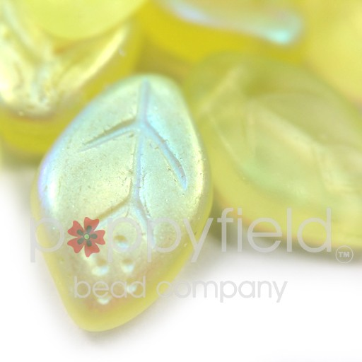 Czech Leaves, 12x7 mm, Matte Jonquil AB, 25 pcs