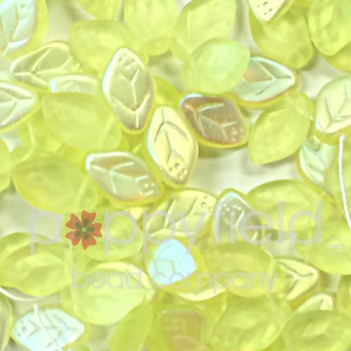 Czech Leaves, 12x7 mm, Matte Jonquil AB, 25 pcs