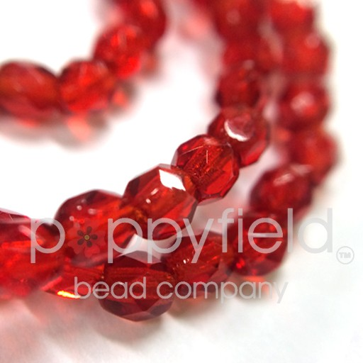 Czech Czech Fire Polish, 4 mm, Ruby, 50 Pcs