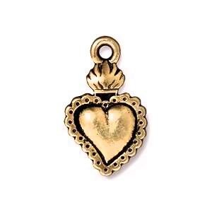 Flaming Heart Charm, Antique Gold