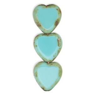 Czech Czech Heart Window Bead, 15x17 mm, Turquoise Picasso, 1 pc