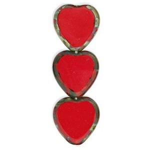 Czech Czech Heart Window Bead, 15x17 mm, Red Picasso, 1 pc