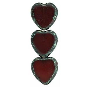 Czech Czech Heart Window Bead, 15x17 mm, Oxblood Picasso, 1 pc